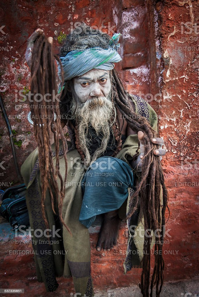 Sadhu with long dreadlocks, beard and ash makeup, Pashupatinath, Nepal stock photo