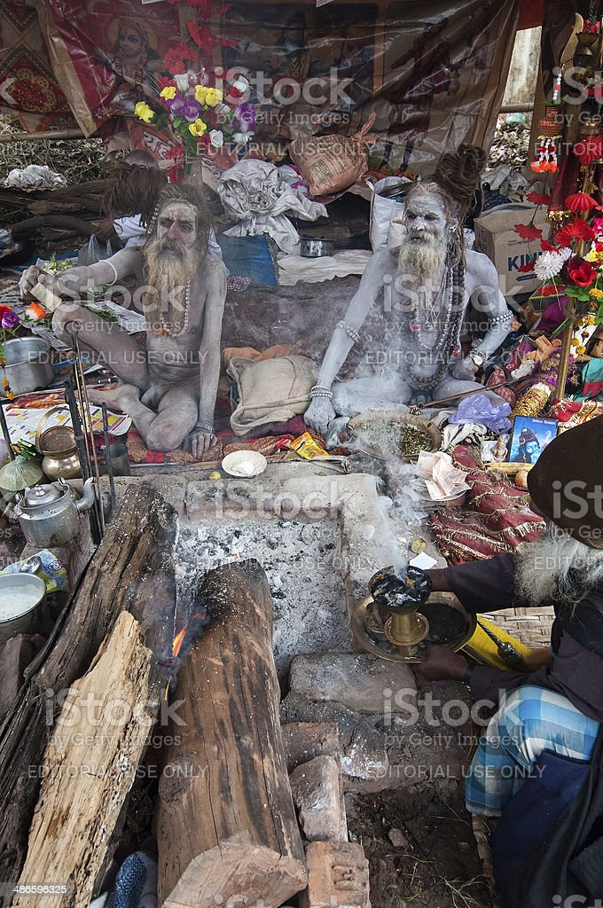 Sadhus (Hindu Saints) and their tent. royalty-free stock photo