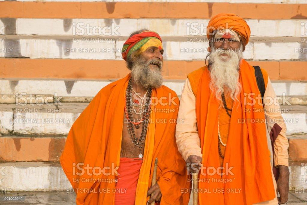 Sadhus of Varanasi stock photo