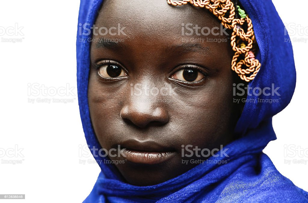 Sadness Symbol Little African Girl with Blue Headscarf Isolated White stock photo