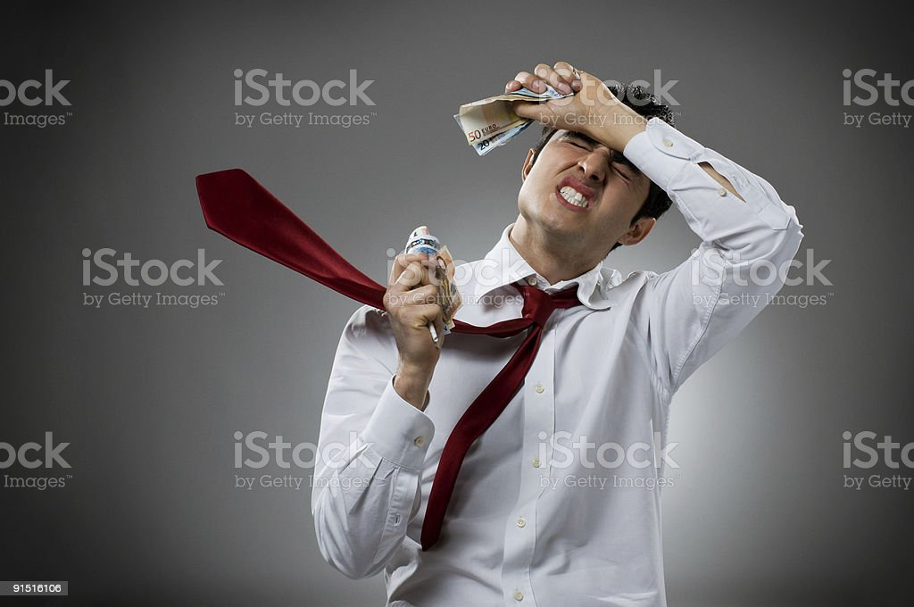 Sadness with money royalty-free stock photo