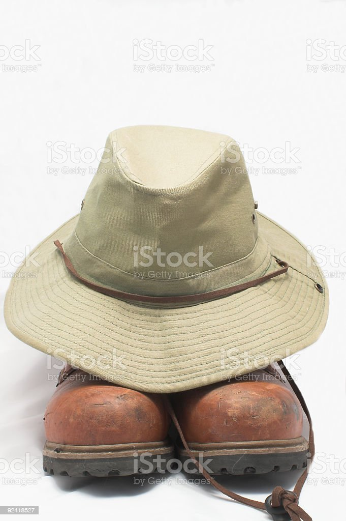 Safari Hat and Hiking Boots royalty-free stock photo
