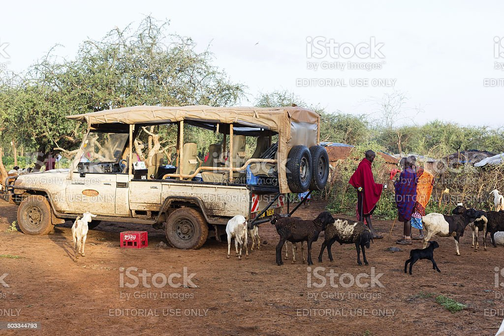 Safari jeep surrounded by goats and people in maasai village. stock photo
