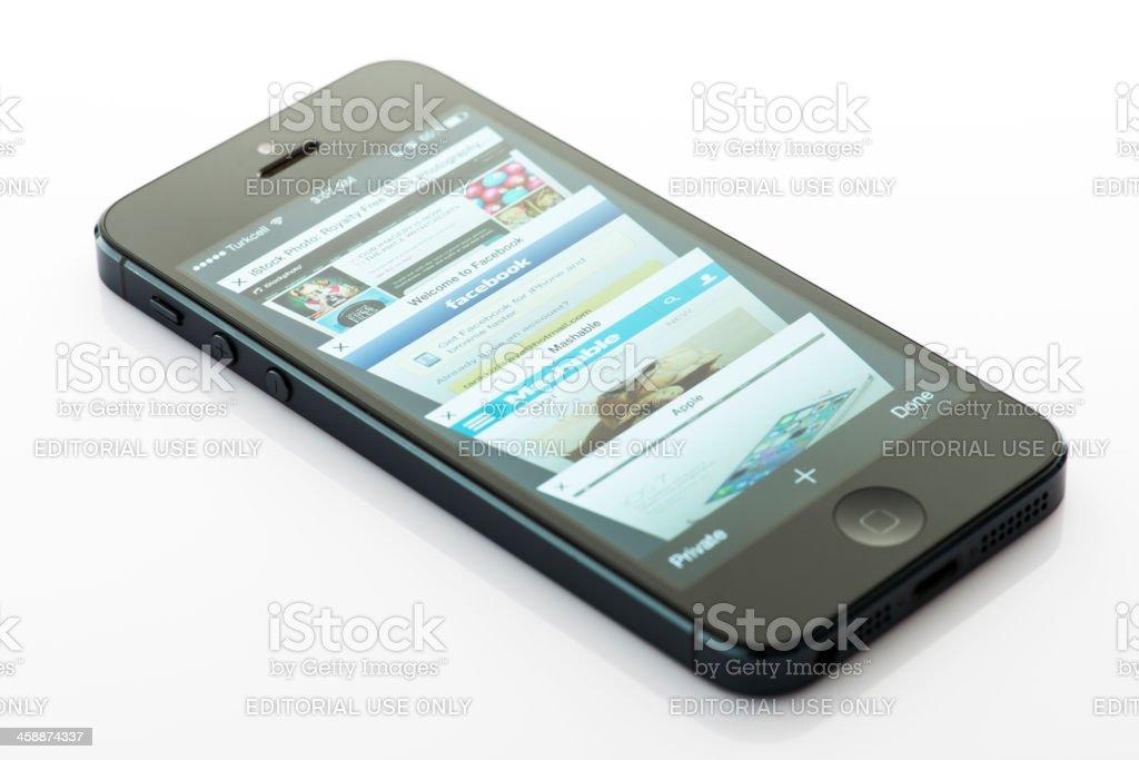 Safari on New Apple operating system iOS 7 royalty-free stock photo