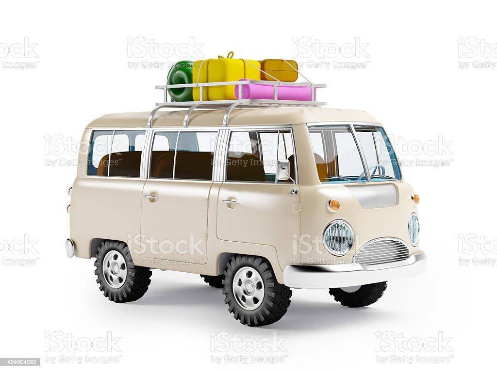 safari van with roofrack stock photo