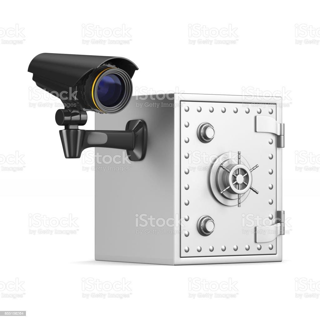 Safe and camera on white background. Isolated 3D illustration stock photo