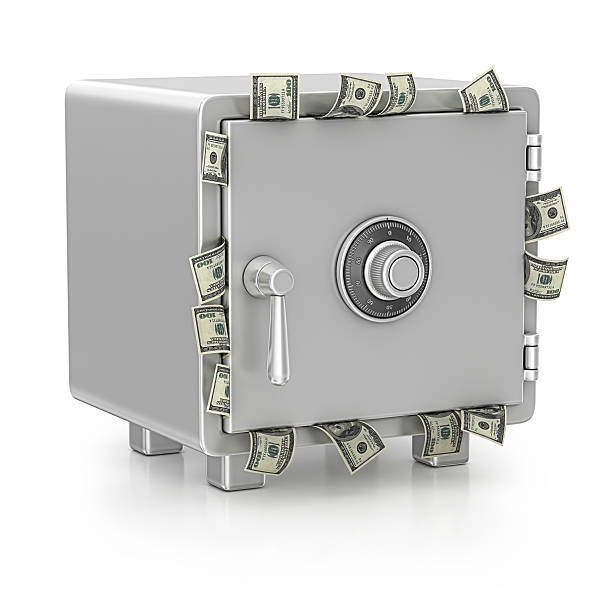 safe and dollars stock photo