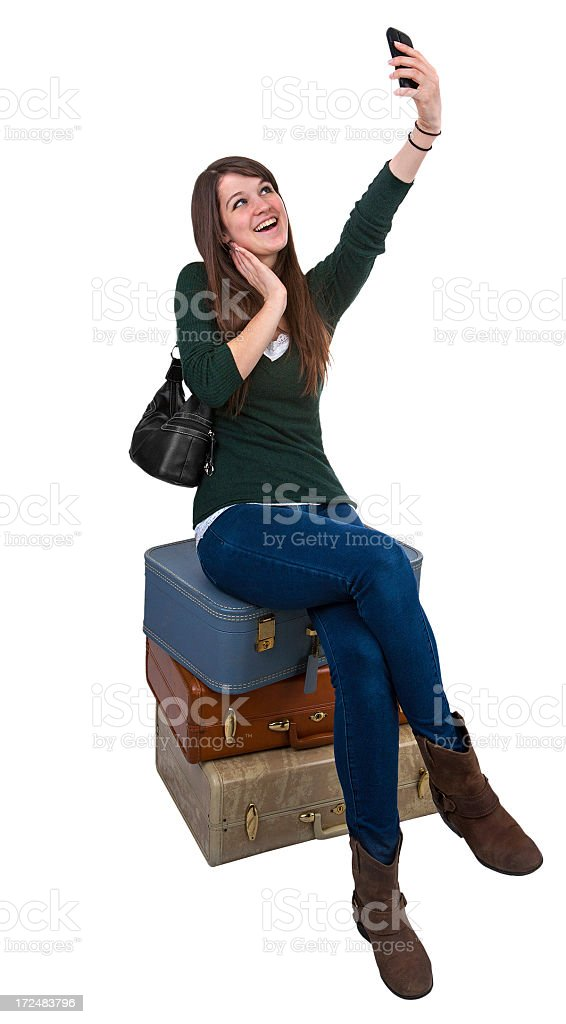 Safe arrival cell phone girl royalty-free stock photo