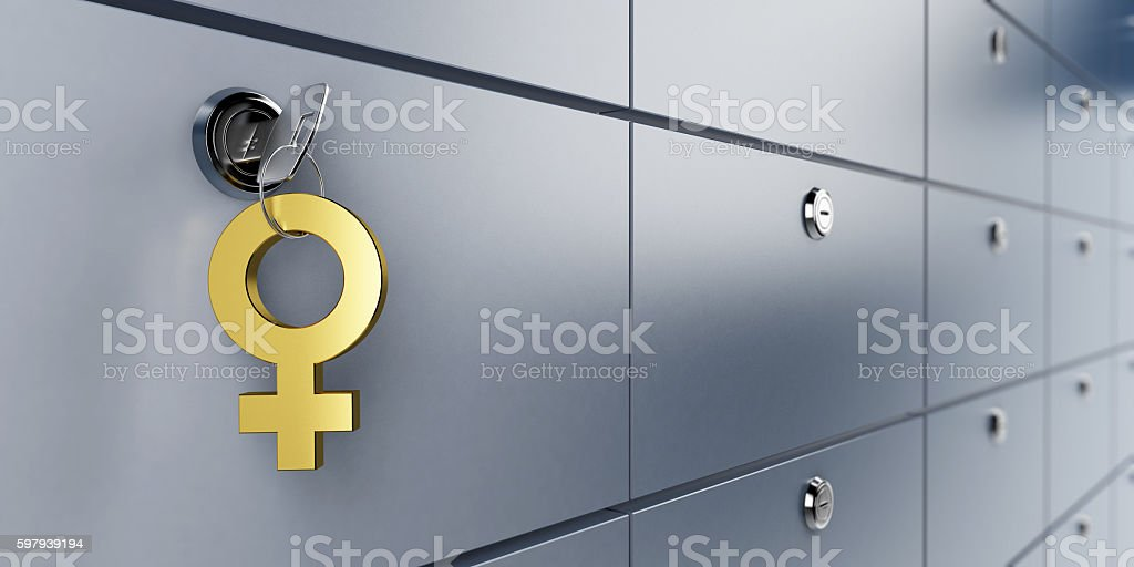 safe bank and key symbol women 3d Illustrations foto royalty-free