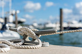 Secured tied boat in a Miami marina.