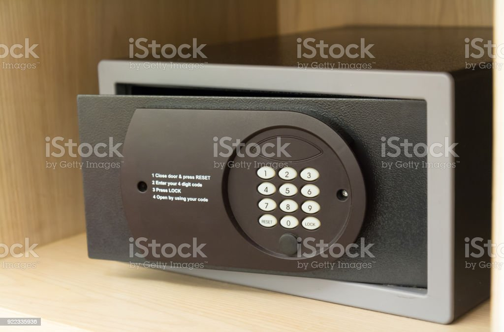 Safe Box And Wood Wardrobe In Hotel Stock Photo & More Pictures of
