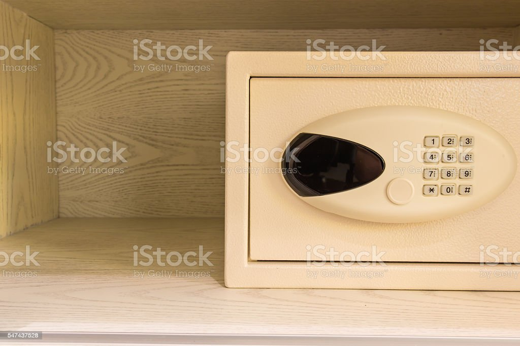 Safe box by number password protected system in room stock photo