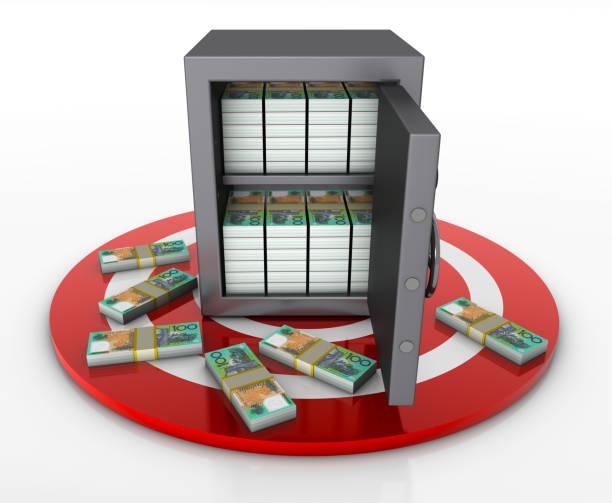 safe box full australian dollar packs on target - target australia stock pictures, royalty-free photos & images