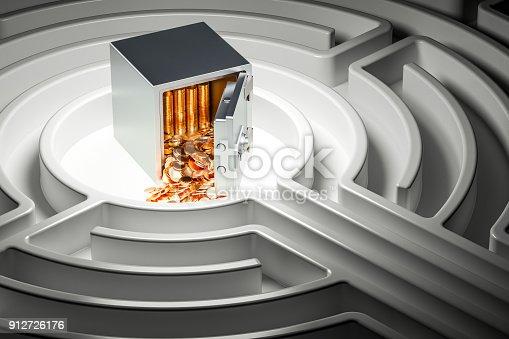 istock Safe box full golden coins at center of dark maze, 3D rendering 912726176