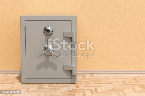 Safe box with combination lock on the floor in the room, 3D rendering