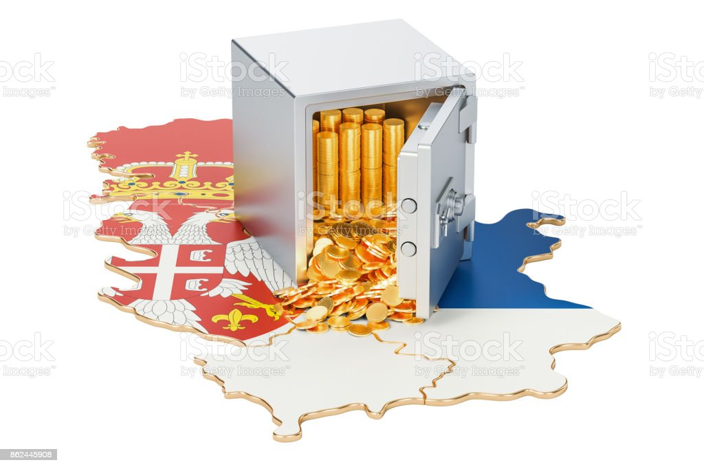 Safe box with golden coins on the map of Serbia, 3D rendering isolated on white background stock photo