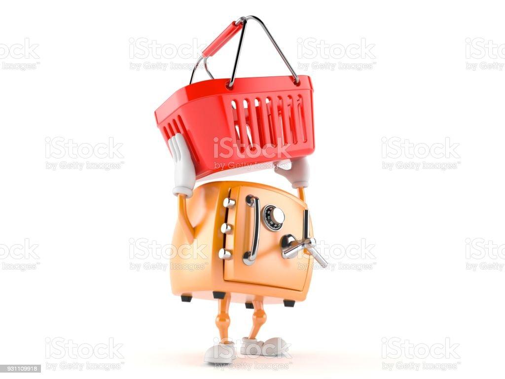 Güvenli karakter holding alışveriş sepeti - Royalty-free Alışveriş Stok görsel