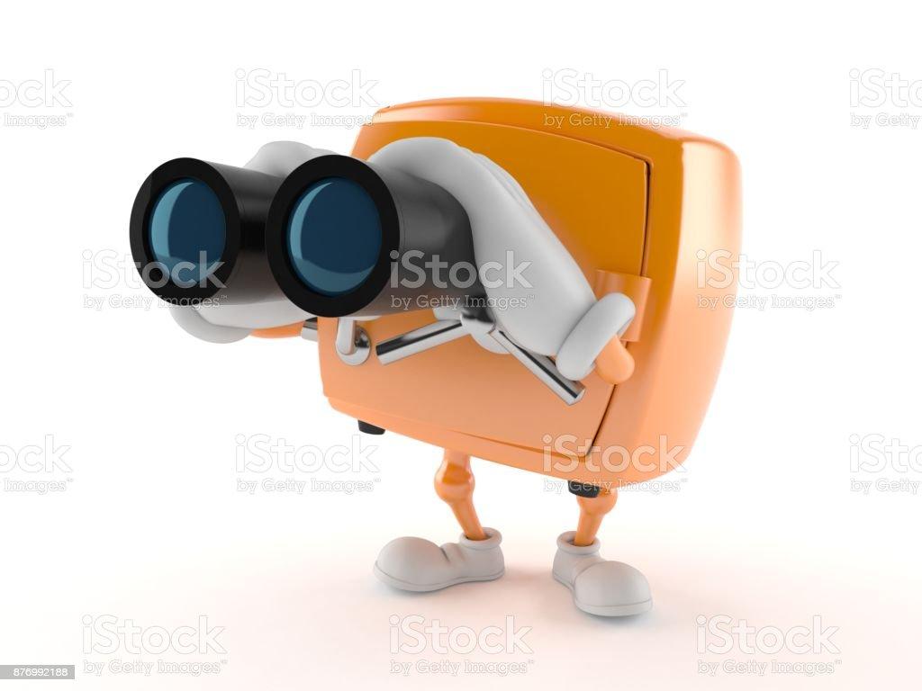 Safe character looking through binoculars stock photo
