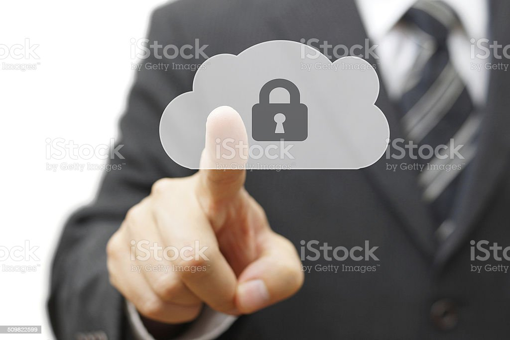 Safe cloud and online remote data. businessman pressing cloud icon stock photo
