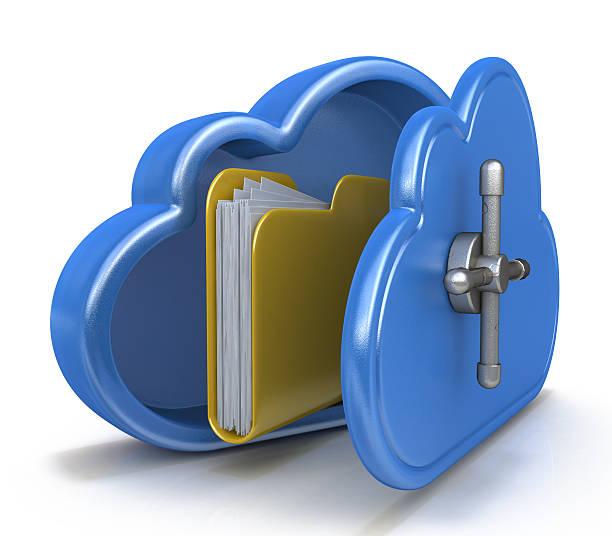 safe cloud computing concept and a file folder - brandkast beveiligingsapparatuur stockfoto's en -beelden