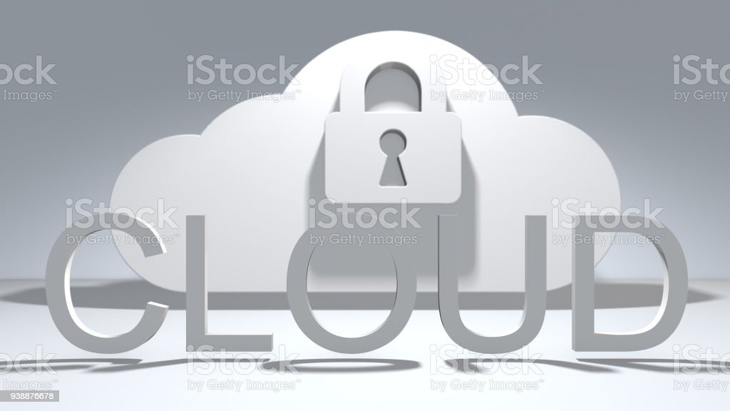 Safe cloud computing internet of things IoT online storage technology stock photo
