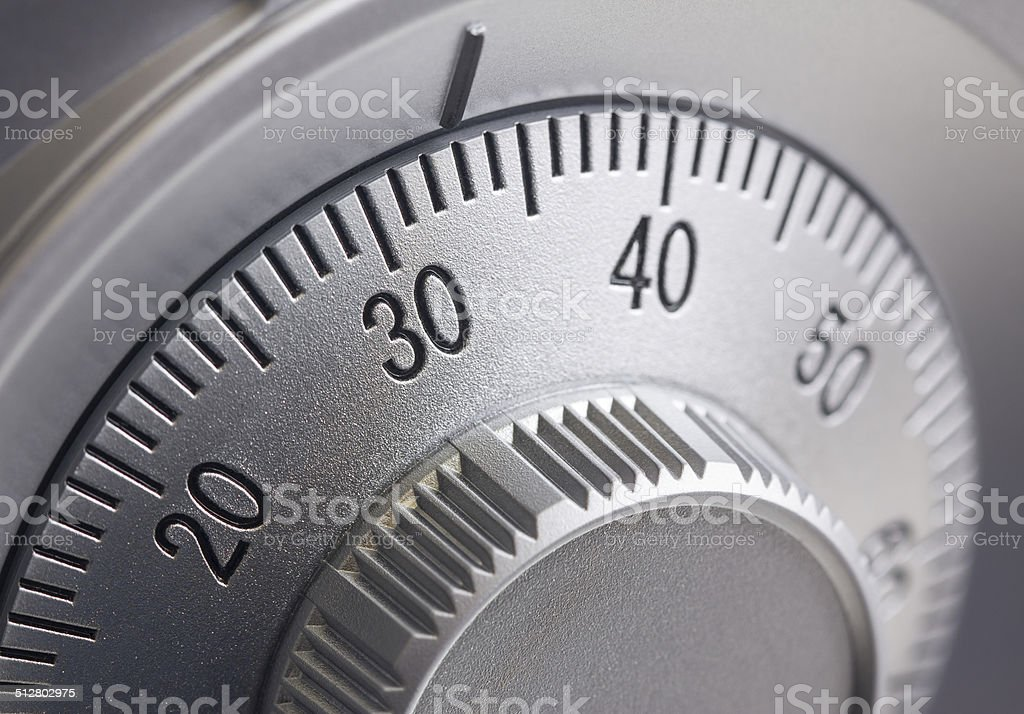Safe combination dial stock photo