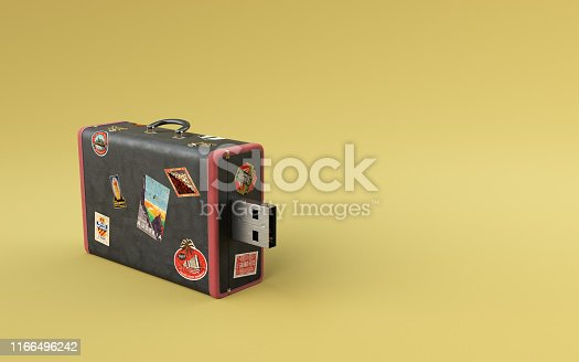 istock Safe data storage concept on yellow background. Black travel suitcase with stickers data transfer minimal idea. 1166496242