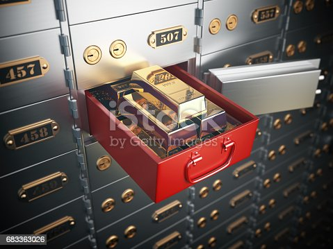 istock Safe deposit box with golden ingots. Financial banking investment concept. 683363026