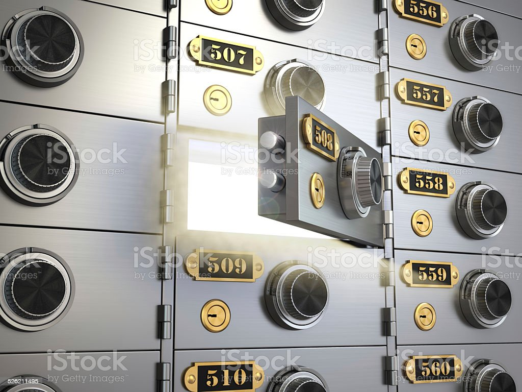 Safe deposit boxes in a bank vault. Banking concept. stock photo