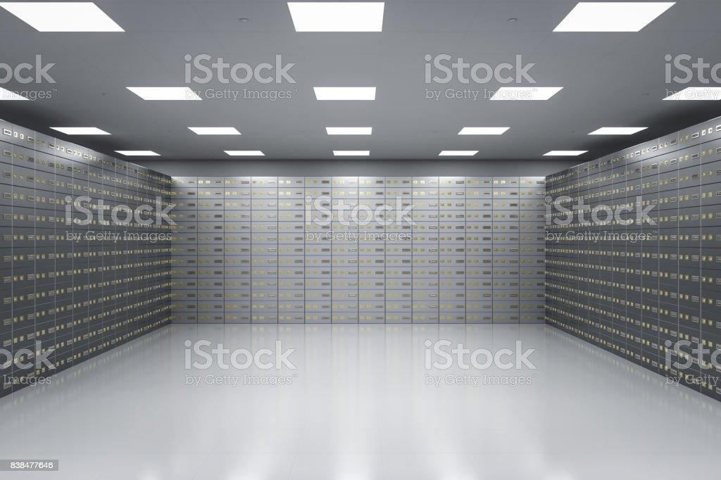 safe deposit boxes inside bank vault stock photo