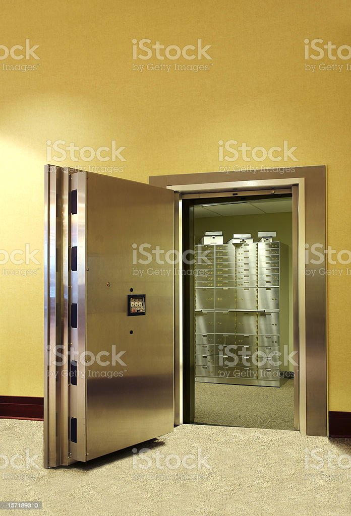 Safe Deposit Boxes Inside Vault stock photo