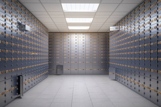 Safe deposit boxes room inside of a bank vault. stock photo