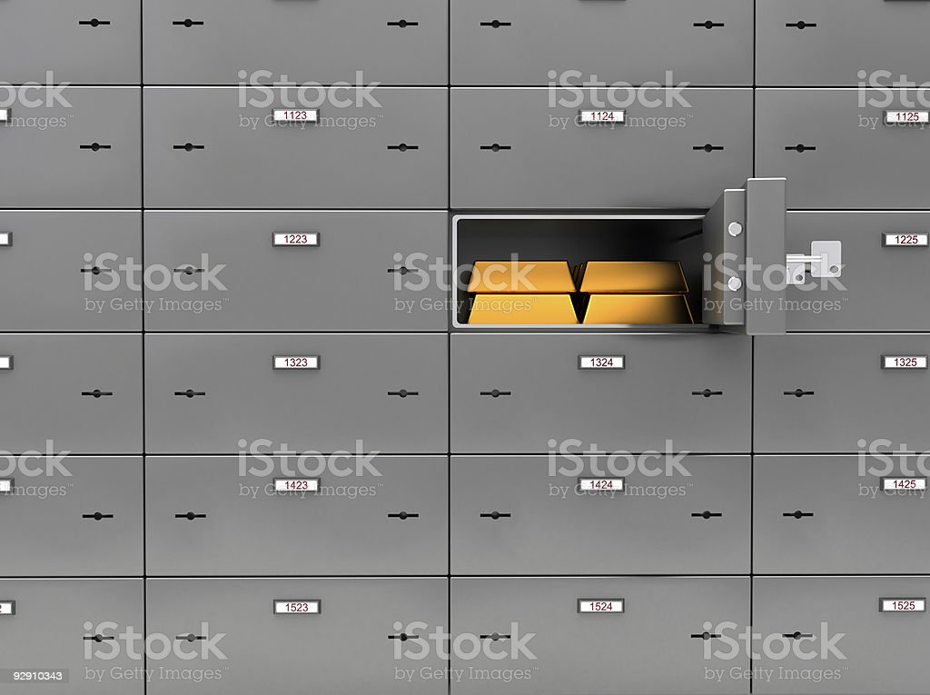 Safe Deposit Boxes with gold stock photo