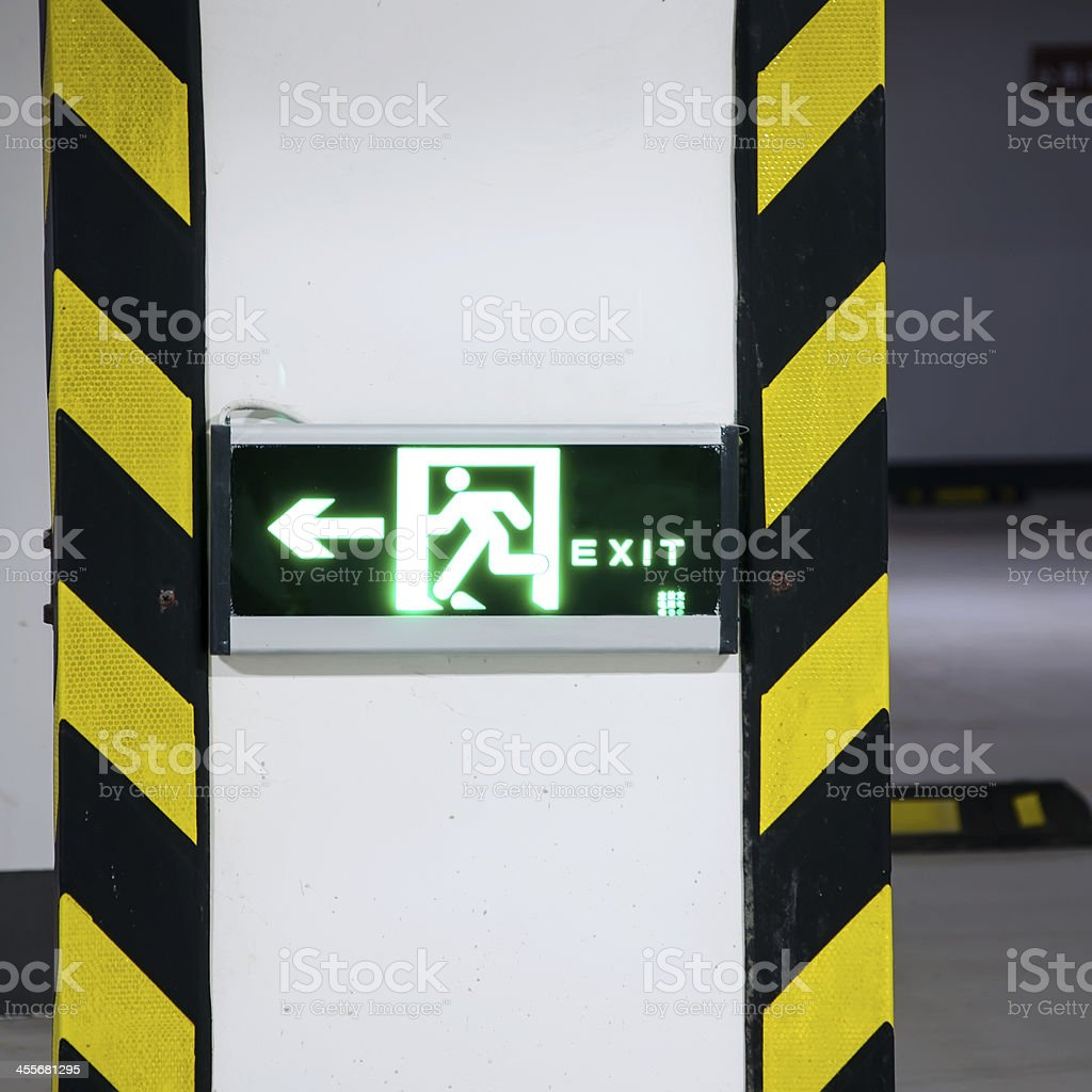 safe exit sign stock photo