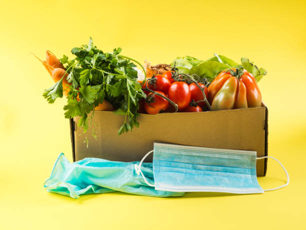 Safe food delivery or donation box concept stock photo