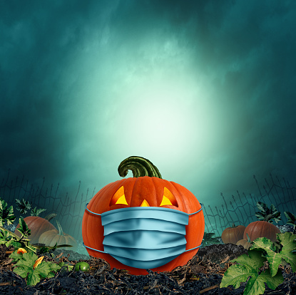 Safe Halloween face mask as a jack o lantern pumpkin wearing a medical face mask as an autumn symbol for disease control and virus infection and coronavirus or covid-19 safety in a 3D illustration style.