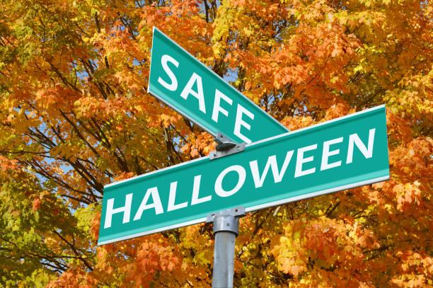 Safe Halloween Street Sign stock photo