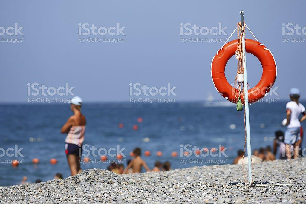 Safe holiday on a seashore royalty-free stock photo