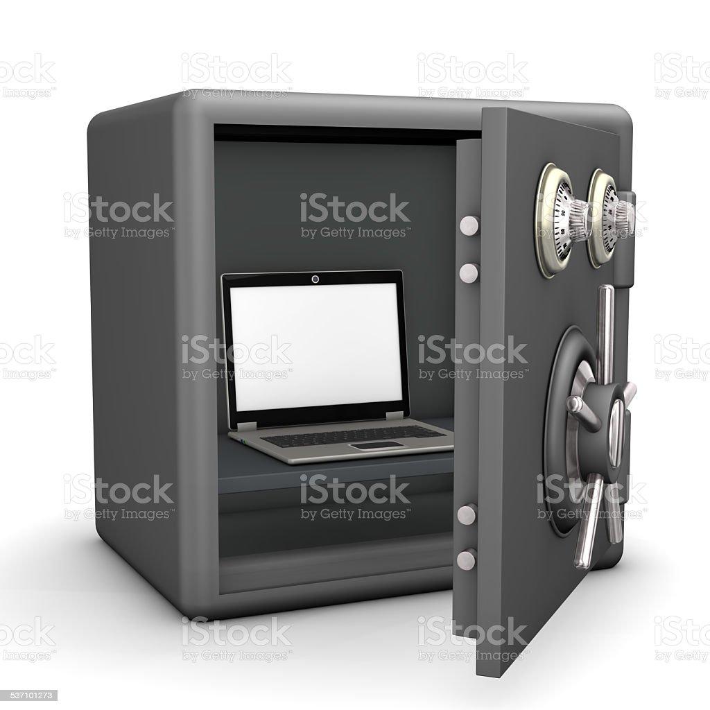 Safe Laptop stock photo
