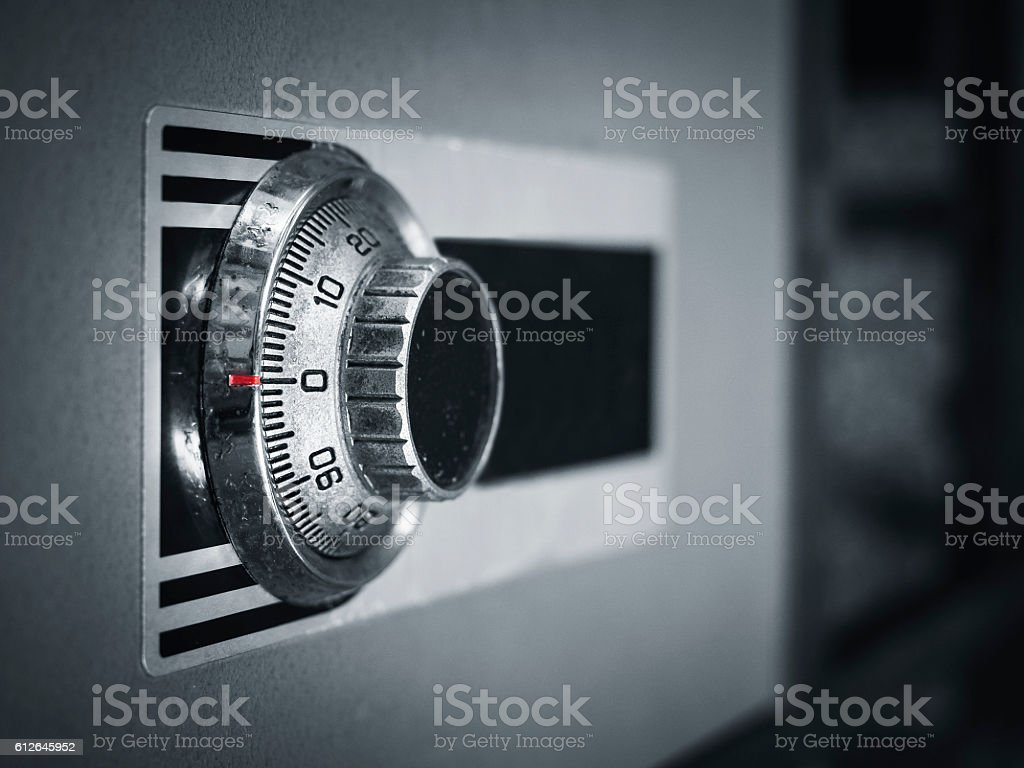 Safe lock code on safety box bank Protection stock photo