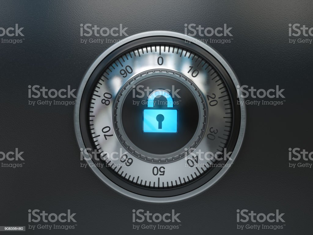 Safe lock with padlock sign. Security concept background stock photo