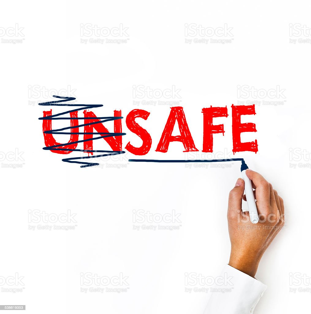 Safe Not Unsafe /  Whiteboard concept (Click for more) stock photo