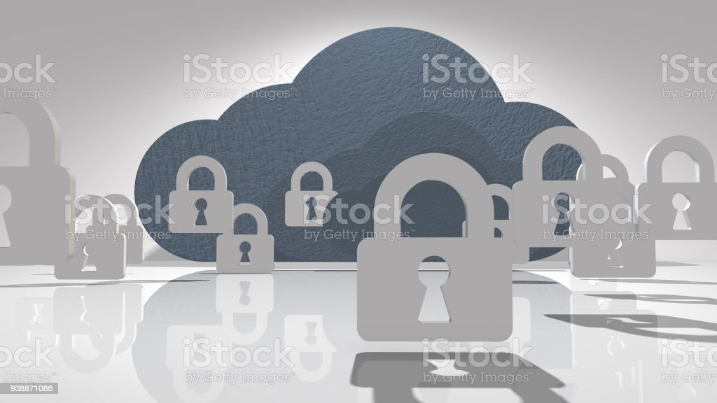 Safe online cloud computing online storage network connectivity for devices stock photo