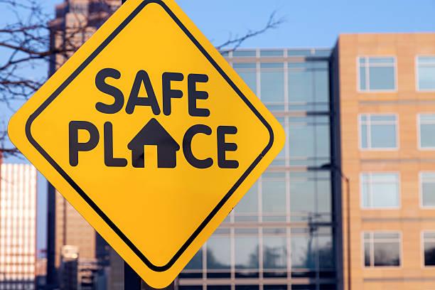safe place sign - mänsklig bosättning bildbanksfoton och bilder
