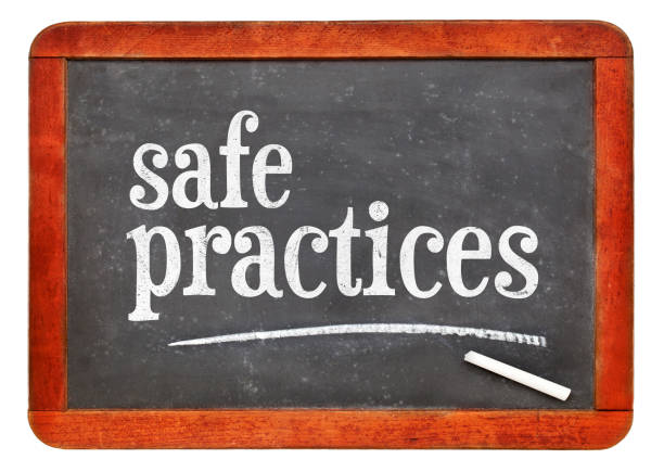 safe practices blackboard sign or banner stock photo