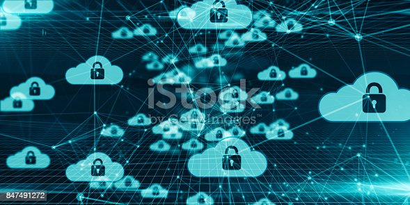 istock Safe secure cloud computing information technology mobile internet network technology 847491272