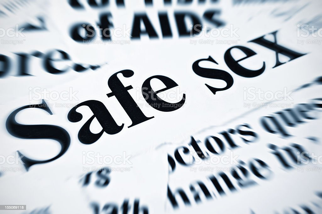 Safe sex and AIDS feature amongst newspaper headlines stock photo