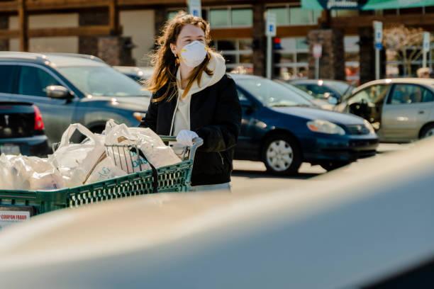 sichere Einkaufspraxis in Zeiten des Pandemie-Virusausbruchs.  Eine junge Frau mit Schutzmaske und Handschuhen, die mit einem Einkaufswagen zu ihrem Auto auf dem Parkplatz eines Supermarktes läuft. – Foto