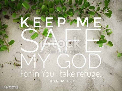 istock Safe verse from the bible verse of the day, be encouraged in daily life design for Christianity. 1144725742