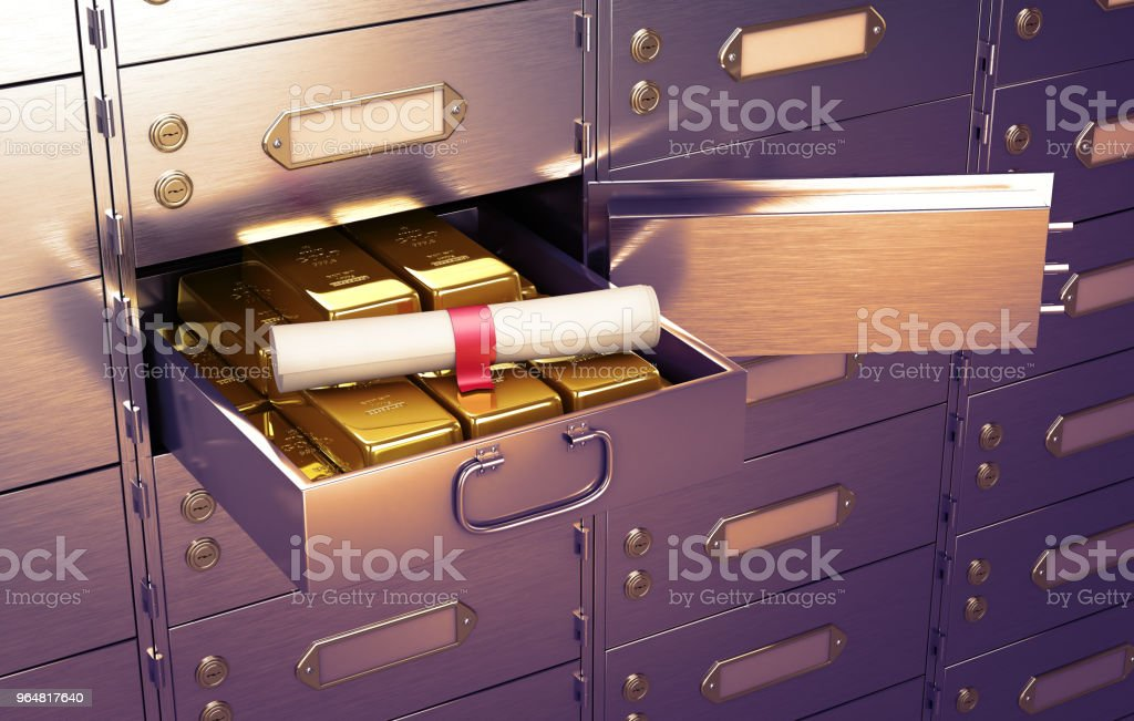 Safe with an open cell, full of gold bars on which lies the document in the form of a scroll. 3D Illustration royalty-free stock photo
